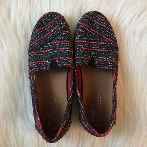 Toms Woven Red Blue Shoes Size 9.5